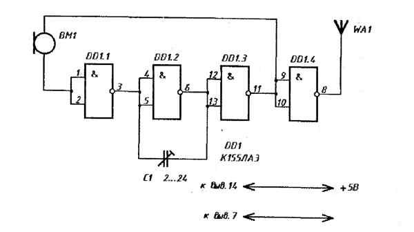 схему радиомикрофона.